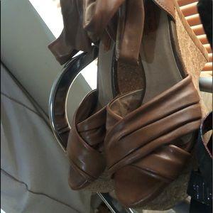 Miz Mooz platform wedges beige brown leather cork